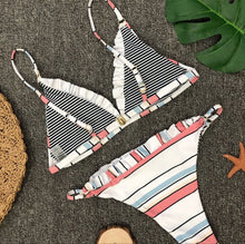 Fashion hot sell lotus leaf edge stripe print split triangle swimsuit sexy two-piece suit bikini