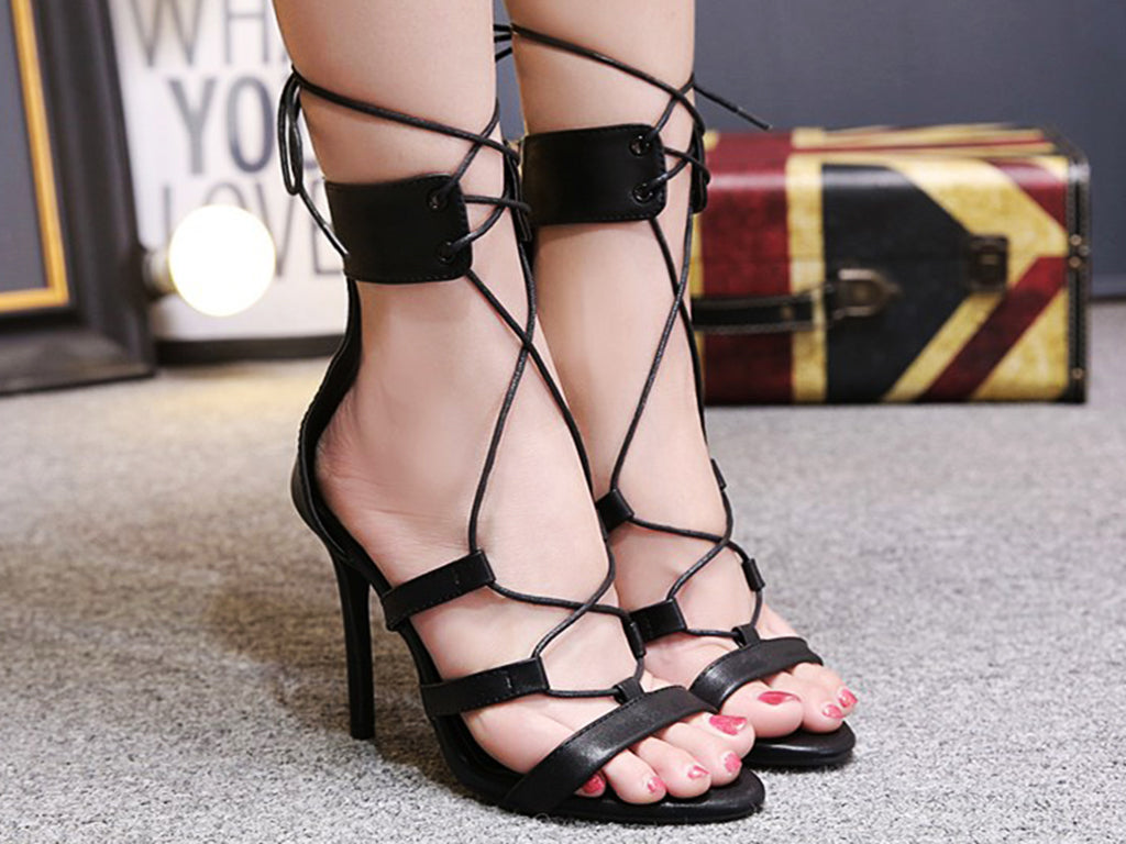 Sexy cross-hairtailed fishmouth slim heels and super-high heeled sandals