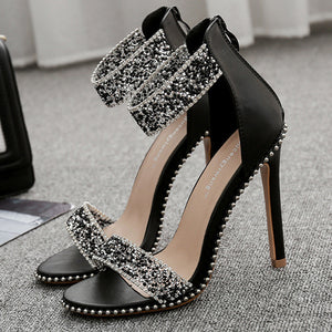 Fashion Women's Shoes Summer New Yuzui Pearl Drill Slender High-heeled Sandals