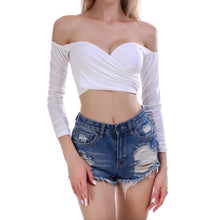 Sexy women's clothes with shoulder-bare cross straps and folded long-sleeved jackets White