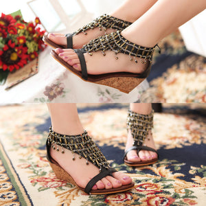 Fashion Slope-heeled Sandals Summer New Beaded High-heeled Sandals