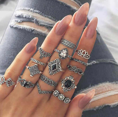 15PCS/Set Personality Ring Tide Fan Hollow Out Lotus Sunflower Geometry Black Gem Set Rings