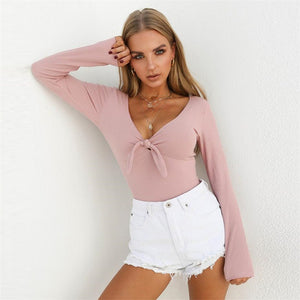 Fashion deep V rabbit knot jumpsuits sell well with long sleeves