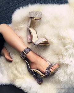 Hot Selling Women's Shoes Open Toe Sequins Thick-heeled Sandals