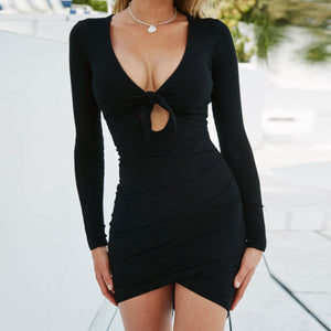 Fashion Sexy Hollow Tie V-neck Long Sleeve Dresses for Women