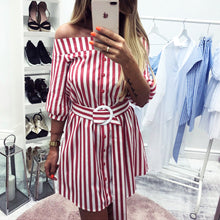 Fashion New Type One-collar Sleeve Stripe Casual Single-row Button Dresses