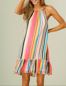 Fashion Sell Coloured Stripe Suspended Dresses