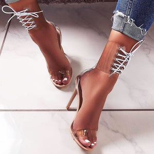 Fashion sandals, new foreign trade ladies, new fishbill, serpentine transparent high heels