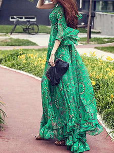Fashionable Printed V-collar Dresses and Dress