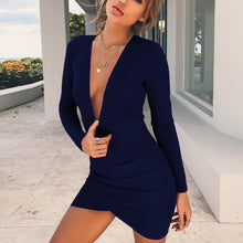 Fashionable Sexy Deep V-back Autumn and Winter New Dresses 5 Colors 4 yards