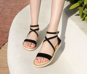 Hot-faced fashionable sandals, hemp rope soles and women's shoes Apricot