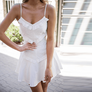Summer Newest Popular Women Sexy Lace Fringe Patchwork Sling Dress White