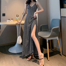 Retro sexy harbor v-necktie long open-forked summer dress beach skirt lady sling striped dress
