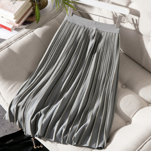 Autumn and winter new skirt stripes large umbrella type wild temperament paragraph Ms. skirt