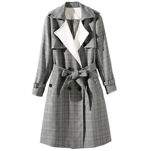 Women's classic plaid double breasted was generous OL models trench coat