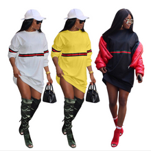 Women's fashion sexy stripes stitching sweater dress tri-color