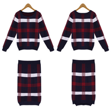 Autumn and winter sweater dress fashion checked plaid package hip bottom dress skirt