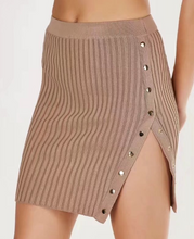 Autumn new high waist side metal button fork sexy knit skirt skirt