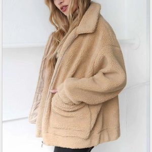 New autumn and winter women's fashion lambs lap thick warm loose cotton lapel jacket