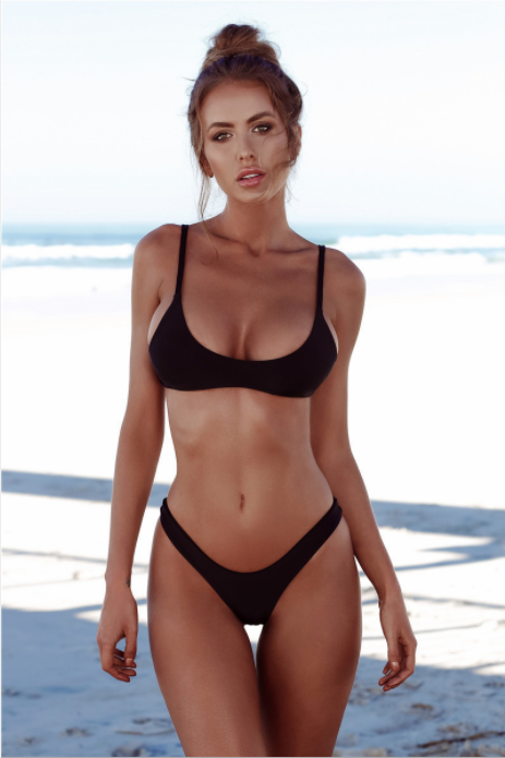 The latest Pure color big size bikini swimsuit lady Black TWO PIECE BIKINI