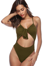 Fashion and fashion pure color one-piece swimsuit sexy chest knot bikini