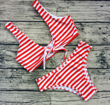 Fashion trend stripe triangle knot swimsuit sexy two-piece suit bikini