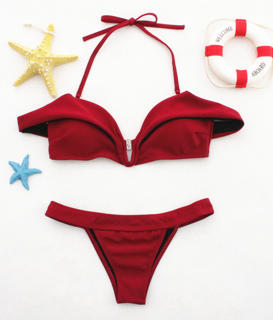 Hot sell fashionable red one word shoulder to wear a swimsuit sexy two-piece suit bikini