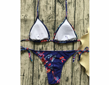 2018 new imitation cowboy bikini retro print swimsuit ladies strap swimsuit