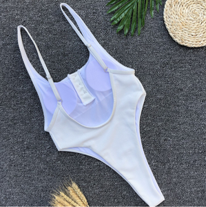 2018 New One-piece Swimsuit Women's Sexy Button Solid Bikini