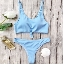 Fashion hot sell chest knot pure color swimsuit sexy two-piece suit bikini