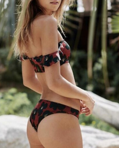 Hot sell fashionable red print one word shoulder to wear the sexy two-piece suit bikini
