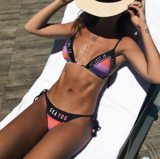 Hot sale of the popular letter printed multicolor swimsuit sexy two-piece bikini