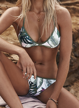 Hot sell popular leaves triangle printed swimsuit sexy two-piece bikini