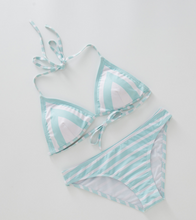 Hot sell trend stripe simple deep v swimsuit sexy two-piece suit bikini