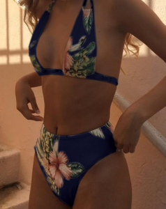 Hot-selling fashion printed high-waisted swimsuit sexy two-piece bikini