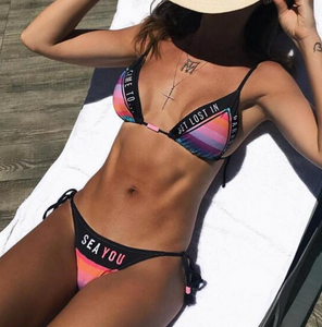 New fashion bikini letter print colorful rainbow stripe two piece bikini swimsuit