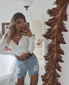 Autumn new fashion cross straps exposed navel V-neck sexy long-sleeved sweater top three color