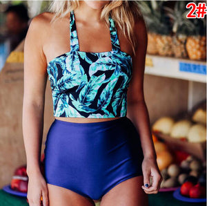 Summer Beach Popular Women Print Vest Type High Waist Two Piece Bikini Swimwear 1#
