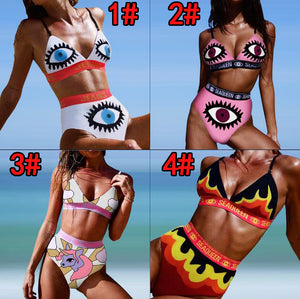 Summer Women Personality Eye Flame Pattern V Collar High Waist Two Piece Bikini Swimsuit Bathing White