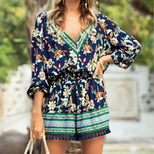 Summer Popular Women Casual Flower Print V Collar Long Sleeve Tassel Rompers White(Blue Print)