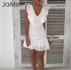 Explosion models white embroidery lace cotton retro spring and summer mini sexy short dress