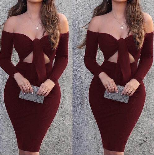 New product tube top long sleeve sexy slim fit hip dress