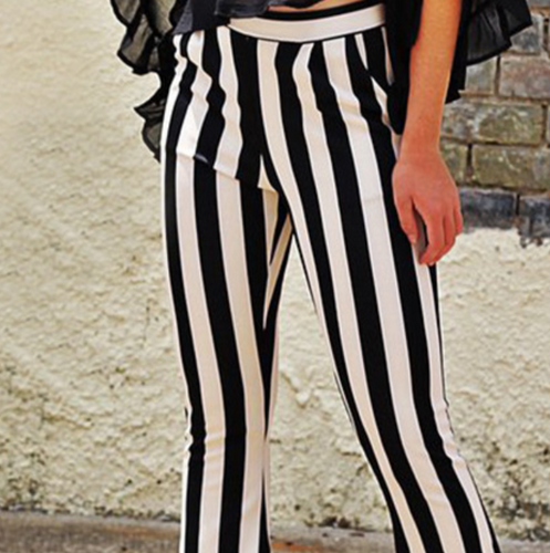 New product hot sale all-match black and white striped bootcut trousers