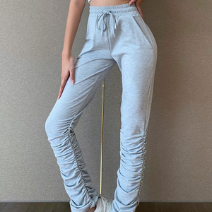 New hot sale sports slim straight pile pile pleated trousers