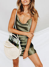 Summer Popular Women Sexy Halter Solid Color Slim Sleeveless Dress Brown