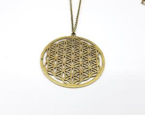 Large Flower of Life  Pendant Bronze