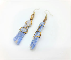 Blue Kyanite Wire Wrapped Earrings