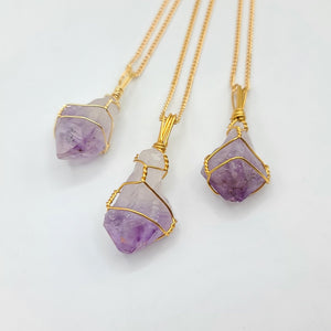 Amethyst Gold Crystal Necklace