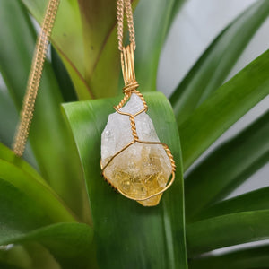 NEW Citrine Crystal Necklace Gold