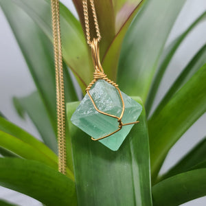 Fluorite Octahedron Gold Crystal Necklace